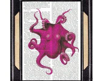 OCTOPUS art print wall decor cephalopod illustration natural science marine sea nautical ocean beach vintage dictionary book page 8x10