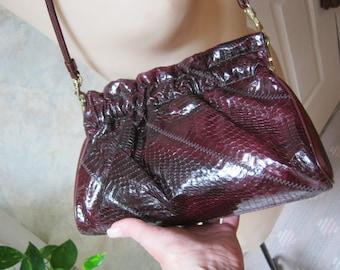 Vintage rich dark burgundy snakeskin bag, dark maroon snake skin pouch bag, deep ruby snake skin shoulder or clutch bag, maroon Caprice bag