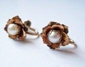 Vintage Amco Pearl and 12 K Gold Filled Earrings - Signed Earrings - Designer Gold Plated Earrings - Clip On - Pearl Flower Earrings