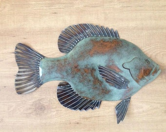 Bluegille Sunfish 20in metal fish Art wall sculpture Cottage Lake Cabin