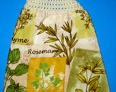 Herbs double hanging kitchen towel, crocheted top dish towel