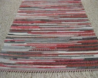 Handwoven Red, Black, Gray, Pink Multi Rag Rug 25 x 57 (M)