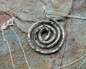 Sterling Silver Spiral Pendant. Hammered Circle of Life. Sterling Silver Chain. Artisan Necklace.