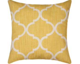 Yellow and White Moroccan Quatrefoil Pillow Accent Pillow - Richloom Bravo Sun Decorative Throw Pillow
