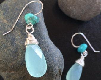 Chalcedony and Turquoise Earrings