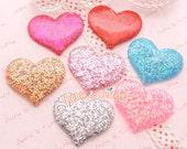 Glittery Confetti Flatback Heart Cabochon - 7pc | Kawaii Cabochon Decoden Supplies Jewelry Making