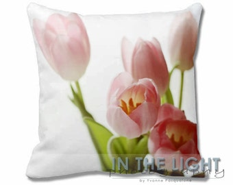 Pink Spring Tulips #2 - Fine Art Photography Pillow for home decor