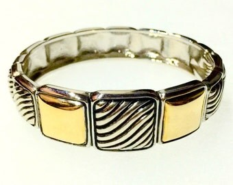 1980s NY Designer TEST Hinge Bracelet with Gold and Silver Squares