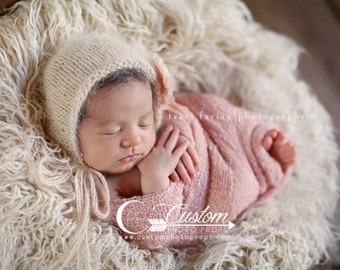 Faux Flokati Newborn Photo Props Fur RTS Faux Flokati Newborn Props, Eggshell Long Sheep Fur, BaSKeT StuFFeR, Baby Photography Props
