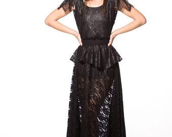 Long Dress  Sheer  Lace size Small Black Noir Lace