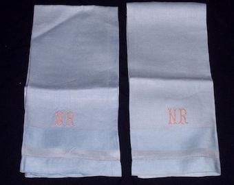 "Vintage Pair (2  Linen Huck Damask Towel 19"" x32"" Monogram NR Beautiful  Powder Blue"