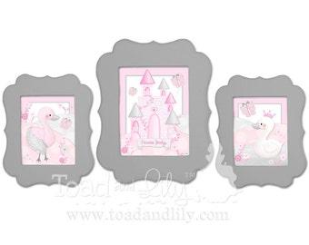 FRAMED Set of 3 Swan Princess Art Prints (2, 8x10s and 1, 11x14 Framed Prints) Bedroom Decor Wooden Framed Kids ART PRINTS