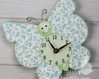 Turquoise Blue and Green Floral Butterfly Wooden WALL CLOCK Girls Bedroom Baby Nursery Art Decor WC0025