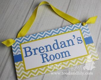 Blue and Yellow Chevron Boys Door Sign Bedroom Baby Nursery Kids Bedroom DOOR SIGN Wall Art - or You Choose the Colours DS0294