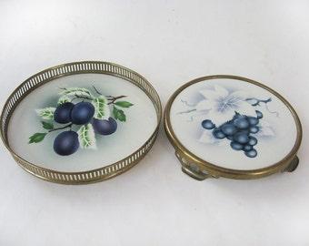 Vintage German Ceramic Tile Openwork Metal Footed Hotplate and Tray Airbrush Fruit Motifs