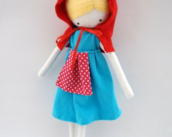 Rag doll Little Red Riding Hood, handmade ooak rag doll