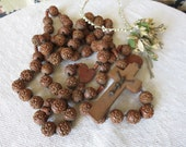 Stunning & Huge Antique French Wooden Rosary / Religious Catholic Prayer Beads and Cross / Christ Crucifix 1880