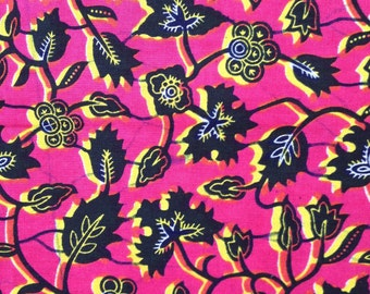 African print, Hot Pink and Yellow, Fabric-by-the-yard African wax print, batik style fabric, 100% cotton