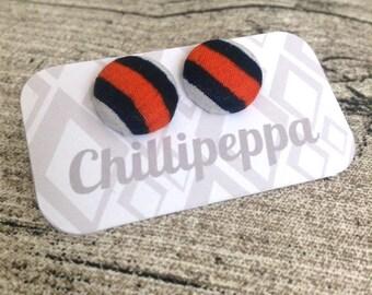 African print Button earrings, African earrings, Fabric button earrings, Button earrings. Fabric earrings, African wax print. Small Orange