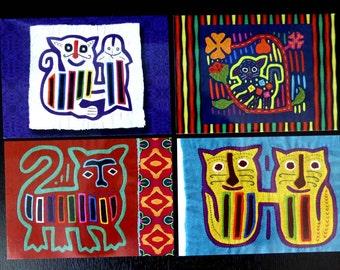 Cat Molas Textile Post Cards | Gift Set of 8 | Vintage Kuna Molas | Teacher Gifts Under 10 | Stationery | Boho Tribal Folk Art Ethnic Cards