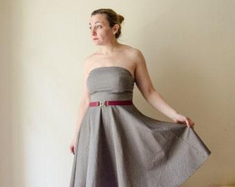 Bandeau Dress Grey Pinstripe Strapless Retro Dress, Full Skirt Dress, Summer Cotton or Winter Wool