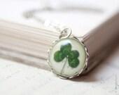 Clover necklace - Four Leaf Clover - Lucky necklace (N036)