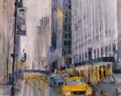 Taxi -  CityScape - Rainy Day in  New York City - Vertical  - Art Print  from Original Watercolors