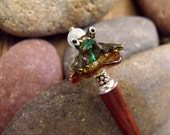 "Whimsical Lampworked Glass Frog Hairstick, Fairytale Long Hair Jewelry with a Natural Aquamarine Gemstone ""Prince Charming"""