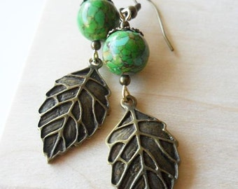 Green Turquoise and Antique Gold Leaf Earrings , woodland hippie