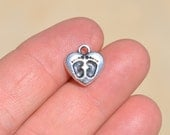 5  Silver Heart Charms with Two Little Footprints SC2650