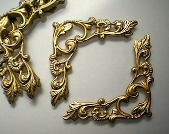6 brass ornate corner brackets No. 3