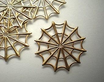 4 large brass spider webs