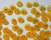 SALE CLEARANCE Vintage Plastic Rhinestone Flower Buttons-100 Pierced-Golden Yellow Orange-1/2""