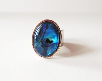 Blue paua ring.  Paua shell ring.  Wide band ring.  Silver ring.  Abalone ring.  Abalone jewelry.  Paua shell jewelry.