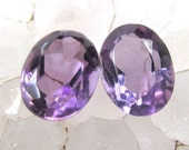 PAIR Faceted Amethyst 8 x 6 mm matched pair - Great color- Jewelry Supply
