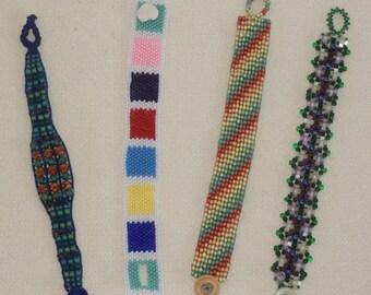 Four Unique Beaded Bracelets with non-metallic clasps