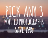 DISCOUNT SET, 15% off, Any three 5x7 or 8x10 Signed and Matted Fine Art Photographs, gift idea set photo collection buy three and save