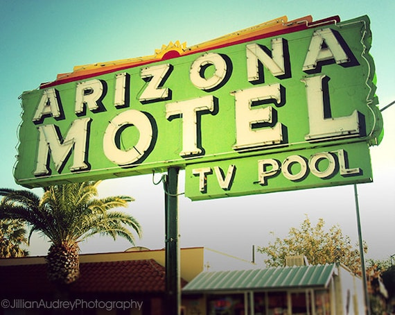 Arizona Motel, Modern photography, Neon sign photograph, Motel Sign, Tucson Photography, retro roadside, Southwest, Mid-Century Modern Art