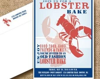 Lobster Bake Invitation // Main Nautical // Lobster Boil // Lobster Shower // Grooms Dinner Invitation