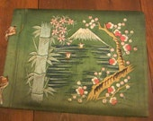 Vintage Green Embroidered Japan Scene  Photo Album