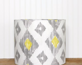 Drum Lamp Shade Lampshade Pendant Kashan Ikat Lemongrass Grey Yellow