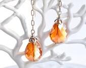 Orange Crystal  Long Drop Earrings