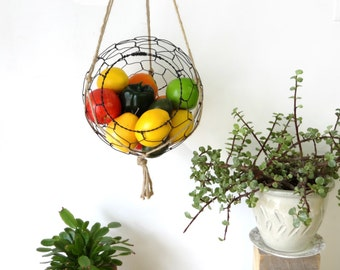 Wire Basket, Hanging, With Macrame Hanger