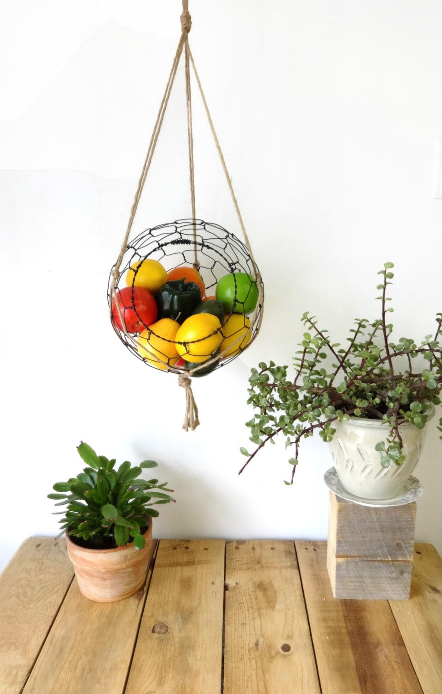 Handmade Hanging Fruit Basket : Hanging wire fruit basket with macrame hanger kitchen rustic