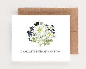 Personalized Stationery, Blue and White Botanical, Wedding and Bridal Stationery, Thank You Notes, Boxed Set, Bridal Shower Gift