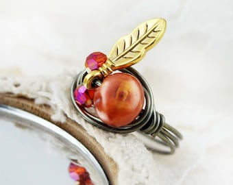 Little Red Indian wire wrapped ring - freshwater pearl