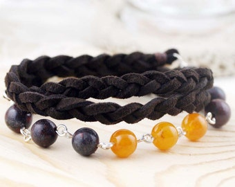 Grounding and harmony triple wrap (unisex) bracelet - breciated jasper and jade