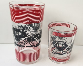 Vintage Bar Glass Set, Equestrian Theme, Horse and Carriage, Red and Black, Set of Twelve