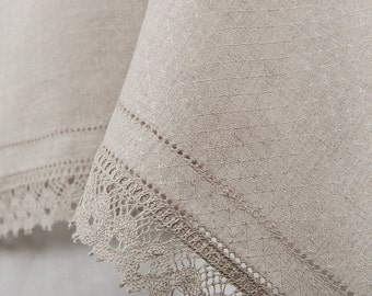 Pure Linen Tablecloth in a diamond pattern decorated with linen lace. Grey 100% Linen / Flax Table Linens.