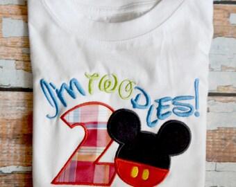 2nd Birthday Shirt, Mickey Mouse Birthday Shirt, I'm Twodles Birthday Shirt, Boys Birthday Shirt